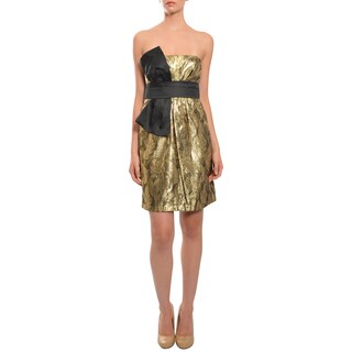 Phoebe Womens' 'Enchanting' Metallic Gold Bow Evening Dress