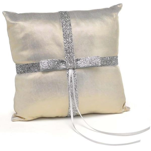 Hortense B. Hewitt Metallic Gold Silver Sparkle Ring Pillow