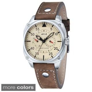 AVI-8 Men's Hawker Hunter Brown Leather Strap Beige Dial Watch