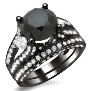 18k Black Gold 5 1/10ct TDW Black and White Diamond Three-stone Ring (E-F, VS1-VS2)