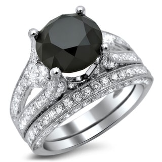 18k White Gold 5 1/10ct TDW Black and White Diamond Three-Stone Ring (E-F, VS1-VS2)