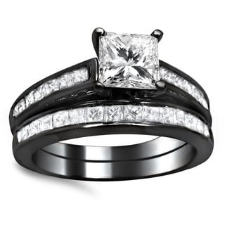 14k Black Gold 1 3/4ct Princess Cut Channel Diamond Bridal Set (G-H, SI1-SI2)