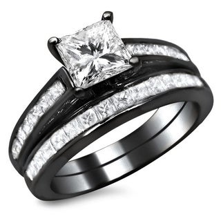 14k Black Gold 1 3/4ct TDW Princess Cut Diamond Bridal Set (G-H, SI1-SI2)