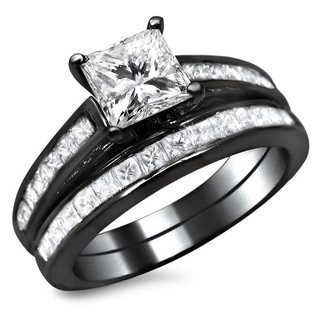 14k Black Gold 1 3/4ct TDW Princess Cut Diamond Bridal Set (G-H, SI1-SI2)