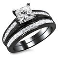 14k Black Gold 1 3/4ct TDW Certified Princess Cut Diamond Bridal Set (G-H, SI1-SI2)