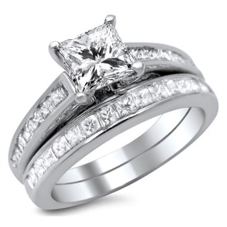 Noori 14k White Gold 1 3/4ct Enhanced Princess Cut Diamond Bridal Ring Set (G-H, SI1-SI2)