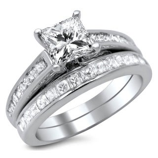 14k White Gold 1 3/4ct Enhanced Princess Cut Diamond Bridal Ring Set (G-H, SI1-SI2)