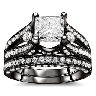 Noori 18k Black Gold 3 1/10ct Certified Princess Enhanced Diamond Bridal Set (G-H, SI1-SI2)