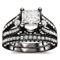 18k Black Gold 3 1/10ct Certified Princess Enhanced Diamond Bridal Set (G-H, SI1-SI2)