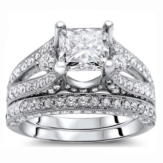 Noori 18k White Gold 3 1/10ct Certified Princess Enhanced Diamond Bridal Set (G-H, SI1-SI2)