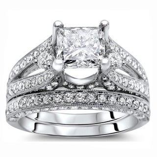 Noori 18k White Gold 2 3/5 ct Certified Princess Enhanced Diamond Bridal Set (G-H, SI1-SI2)