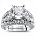 18k White Gold 3 1/10ct Certified Princess Enhanced Diamond Bridal Set (G-H, SI1-SI2)