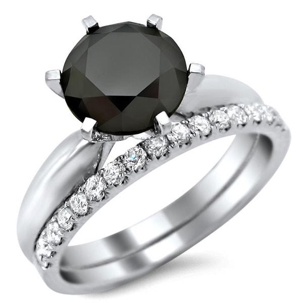 vintage inspired black and white diamond engagement ring bridal set in 500x500 tdw - Black And White Diamond Wedding Rings