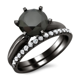 14k Black Gold 2 3/4ct TDW Black and White Diamond Engagement Ring Bridal Set (G-H, VS1-VS2)