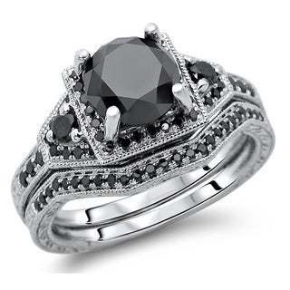 14k White Gold 3 1/10ct TDW Black Round Diamond Bridal Set