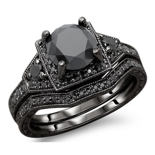 14k Black Gold 3ct TDW Black Round Diamond Engagement Ring Bridal Set