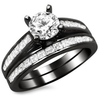 14k Black Gold 1 1/2ct Certified Round Princess Cut Diamond Engagement Ring Set (G-H, SI1-SI2)