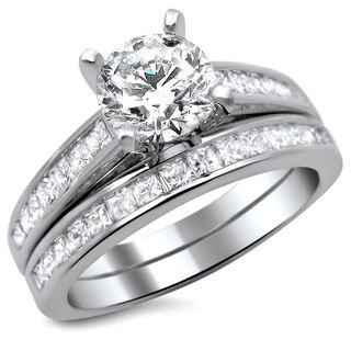 14k White Gold 1 3/4ct Certified Round Princess Cut Diamond Engagement Ring Set (G-H, SI1-SI2)