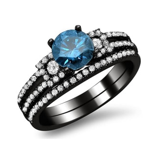 18k Black Gold 1 2/5ct TDW Blue and White Round Diamond Engagement Ring Set (F-G, SI1-SI2)