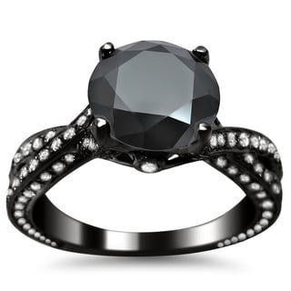 Noori 14k Black Gold 2 4/5ct TDW Black Round Diamond Criss Cross Engagement Ring