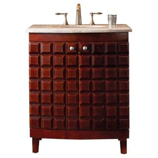 Virtu USA 'Florence' 30-inch Single Sink Antique Walnut/ Travertine Granite Bathroom Vanity Set