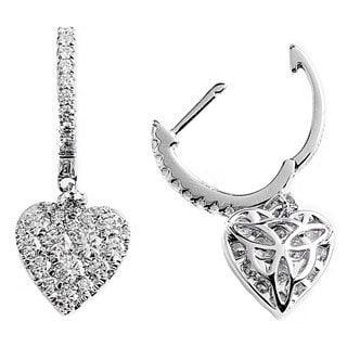Kabella 18k White Gold 1 1/10ct TW Diamond Pave Heart Hoop Earrings (G-H, VS1-VS2)