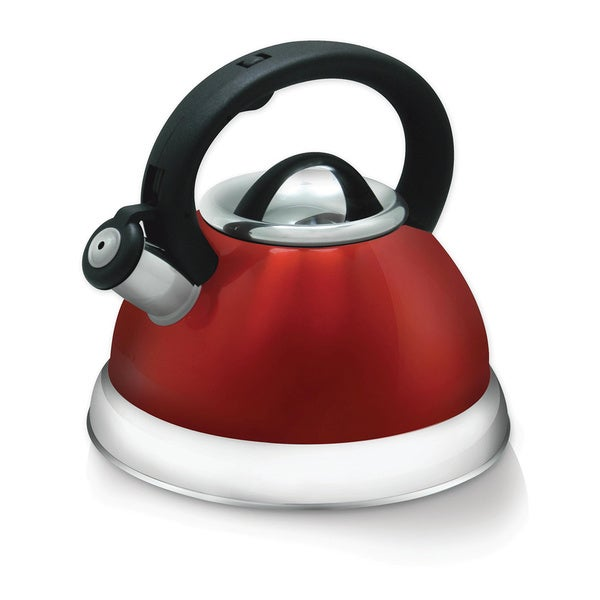 3-quart Red Heavy Gauge Stainless Steel Whistling Tea Kettle