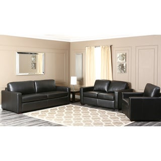 Abbyson Living 'Felton' Black Leather 3-piece Seating Set