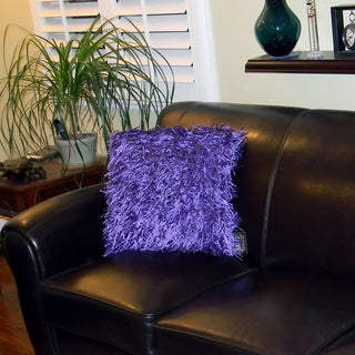 Bellagio 20-inch Square Purple Shaggy Throw Pillow