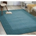 kathy ireland 'Cottage Grove' Wool Ocean Blue Bordered Rug (2'3 x 7'6)