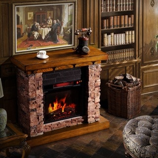 Sirio Stacked Faux Stone/ Oak Electric Flame Fireplace