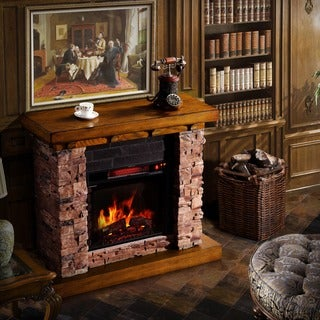 Corvus Stacked Faux Stone/ Oak Electric Flame Fireplace with Multi-function Remote Control