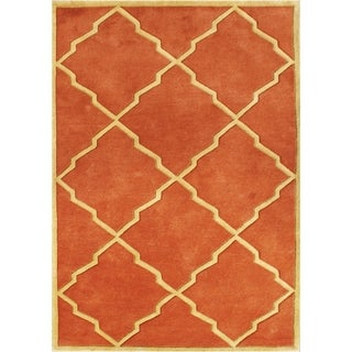 Handmade Alliyah Rust/ Tan New Zealand Blend Wool Rug (9' x 12')