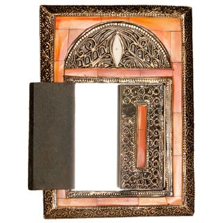 Hand-carved 11-inch Henna Bone Mirror and Doors (Morocco)
