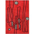 Handmade Alliyah Fiery Red Abstract New Zealand Blend Wool Rug (8' x 10')