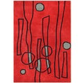 Alliyah Handmade Fiery Red, Black, and Slate Grey New Zealand Blend Wool Rug (8' x 10')