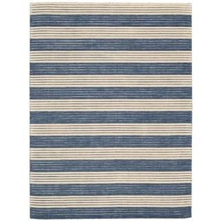 Ripple Midnight Blue Wool Area Rug (3'6 x 5'6)