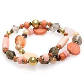 Alexa Starr Two Row Blush Colored Glass Beads Stretch Bracelet with Burnish Gold Accents
