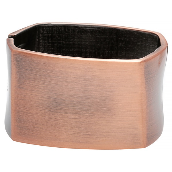 Alexa Starr Wide Twisted Burnished Gold Square Hinged Cuff