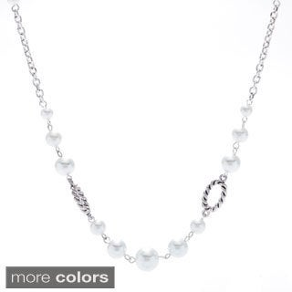 Alexa Starr Stationed White Faux Pearl and Twisted Burnished Accent Long Necklace