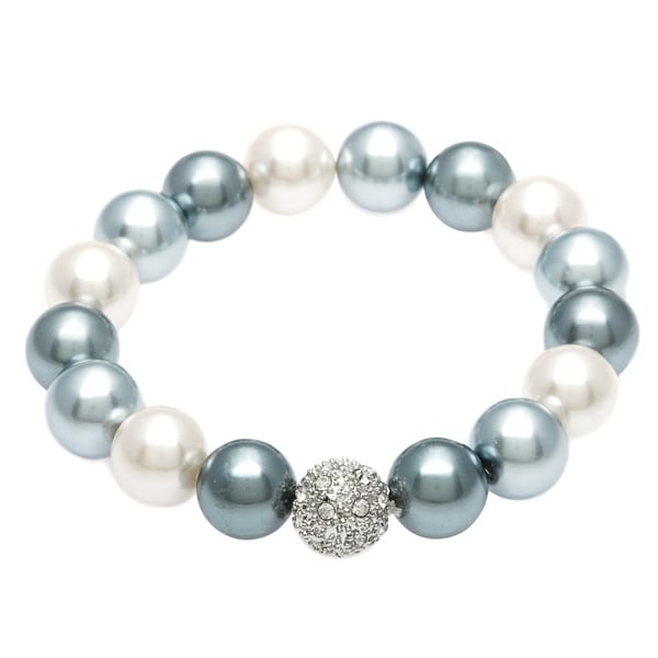 Alexa Starr Faux Pearl Stretch Bracelet with Silver and Rhinestone Fireball Accent Bead