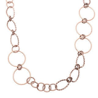 Alexa Starr Long Burnished Copper Mixed Rings Necklace