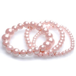 Alexa Starr Three Row Mixed Size Stretch Glass Pearl Bracelet Set
