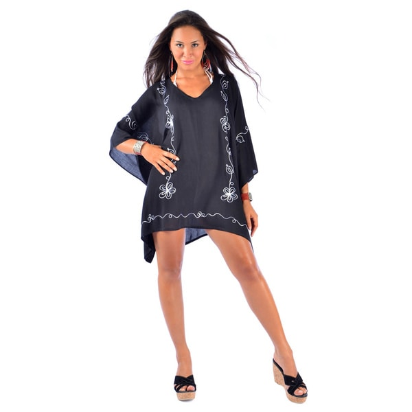 Women's Embroidered Black/ Grey Poncho Cover-up (Indonesia)