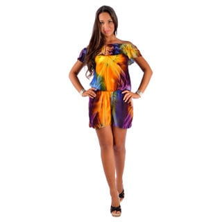 Women's Multicolored Tie-dye Off-shoulder Cover-up Jumper (Indonesia)