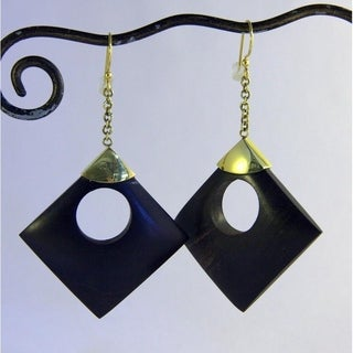 Hand-crafted Circle/ Square Dangle Earrings (Indonesia)