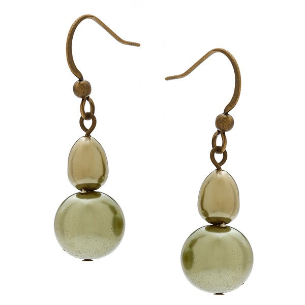 Alexa Starr Round/ Baroque Glass Pearl Double Drop Earrings