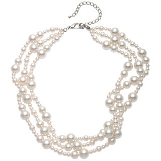 Alexa Starr Mixed-size Cream Faux Pearl Torsade Necklace