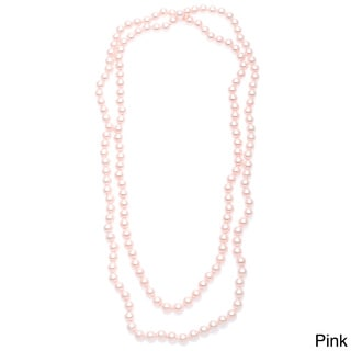 Alexa Starr Hand-knotted Endless 54 inches long (8-9 mm) Glass Pearl Necklace