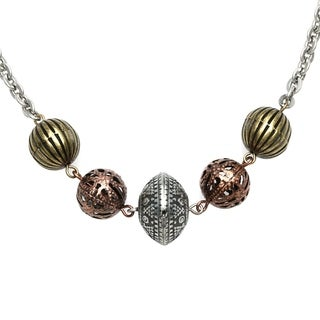 Alexa Starr Burnished Silvertone Stationed Tri-tone Bead 32-inch Necklace
